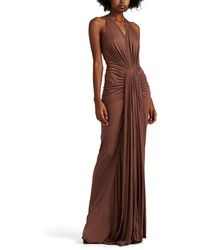 Rick Owens Ruched Brushed Jersey Maxi Dress - Purple