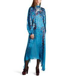 Givenchy Ocean-floral Charmeuse Midi-dress - Blue