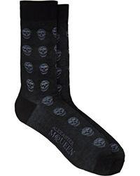 Alexander McQueen - Skull-embroidered Cotton-blend Mid-calf Socks - Lyst