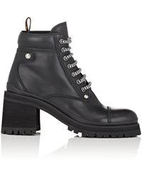 Miu Miu Lug-sole Leather Ankle Boots - Black