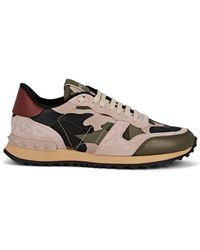 Valentino Rockrunner Mixed-material Camouflage Sneakers - Green