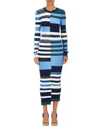 Opening Ceremony - Striped Knit Fitted Maxi Dress Size Xs - Lyst