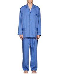 Barneys New York End-on-end Cotton Pyjama Set - Blue