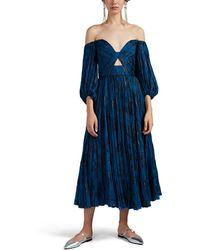 J. Mendel - Metallic-floral Plissé Chiffon Off-the-shoulder Dress - Lyst