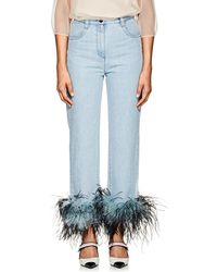 Prada - Ostrich-feather-embellished Relaxed Jeans - Lyst