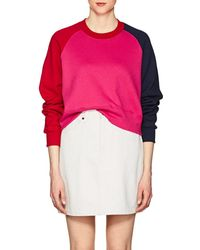 Cedric Charlier - Colorblocked Cotton Fleece Sweatshirt - Lyst