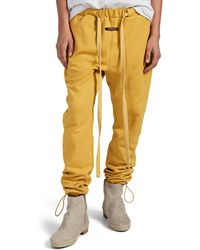 Fear Of God Logo Cotton Terry Jogger Pants - Yellow