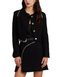 Alexander Wang Zip-detailed Metallic Wool-blend Tweed Crop Jacket - Black