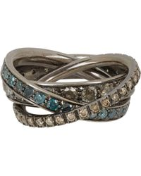 Roberto Marroni - Multi Diamond & Oxidized White Gold Triple Ring - Lyst