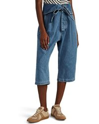 Loewe Oversized Belted Pleated Crop Jeans - Blue