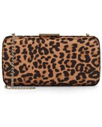 Gianvito Rossi Leopard-printed Satin Clutch - Brown