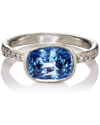 Malcolm Betts - White Diamond & Blue Sapphire Ring - Lyst