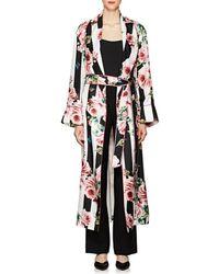 Dolce & Gabbana - Striped & Rose-print Silk Belted Robe Coat - Lyst