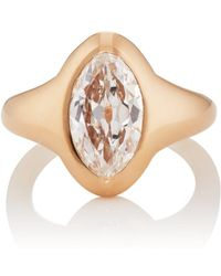 Munnu - Oval White Diamond Ring Size 6 - Lyst