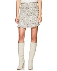 10 Crosby Derek Lam - Floral Ruched Cotton Crepe Skirt - Lyst