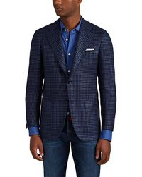 Kiton Houndstooth Cashmere-silk Two-button Sportcoat - Blue