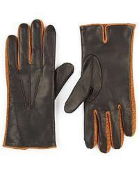 Barneys New York Cashmere-lined Leather Gloves - Black