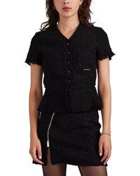 Alexander Wang Metallic Wool-blend Tweed Short-sleeve Jacket - Black
