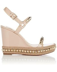 93e262ab0f5 Christian Louboutin - Cataclou Studded Platform Espadrille Sandals - Lyst
