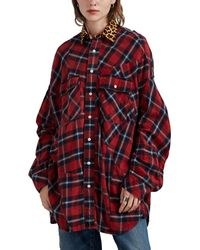 R13 Leopard-collar Plaid Cotton Flannel Blouse - Red
