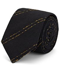 Alexander Olch Striped Textured Silk Necktie - Black