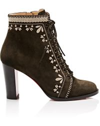 9b4513298fb5 ... ireland christian louboutin pichtoun girl embroidered suede ankle boots  lyst 5095d 9de47
