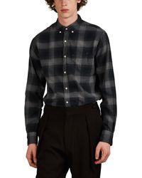 Officine Generale Plaid Cotton Flannel Button-down Shirt - Black