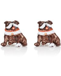 Barneys New York Bulldog Cufflinks - Brown
