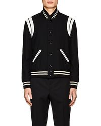 Saint Laurent - Classic Leather-trimmed Wool-blend Teddy Jacket - Lyst