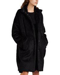 Zero + Maria Cornejo Shaggy Alpaca-wool High-collar Coat - Black