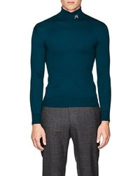 Raf Simons - Logo Wool-blend Fitted Turtleneck Sweater - Lyst