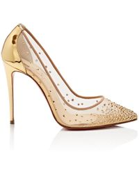 Christian Louboutin Follies Strass 100 Silver Pumps - Metallic