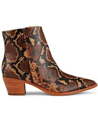 Ulla Johnson Snakeskin-stamped Leather Ankle Boots - Brown