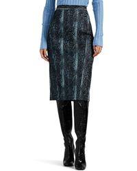 Zac Posen Metallic Python-pattern Jacquard Midi-skirt - Blue