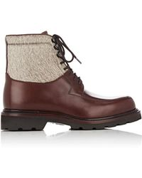 Cartujano España - Leather & Fur Combat Boots - Lyst