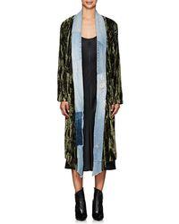 Greg Lauren Thedrop@barneys: Crushed Velvet & Denim Long Kimono - Multicolor