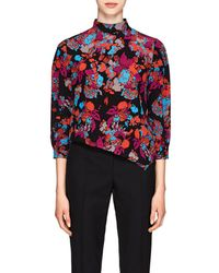 Givenchy - Fire Flower-print Silk Top - Lyst