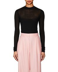 Narciso Rodriguez - Mixed-rib-knit Silk-blend Fitted Sweater - Lyst