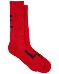 Yohji Yamamoto Logo-knit Cotton-blend Mid-calf Socks - Red