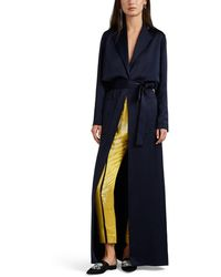 Lanvin - Washed Satin Belted Trench Dress - Lyst