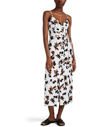 Derek Lam Button-detailed Floating-floral Cami Dress - White