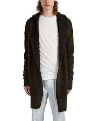 Rick Owens Wool-blend Oversized Hooded Cardigan - Black