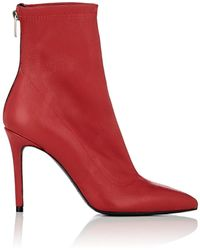 Barneys New York - Stretch Leather Ankle Boots - Lyst