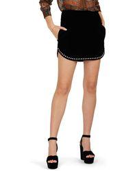 Saint Laurent - Studded Cotton Velvet Miniskirt - Lyst