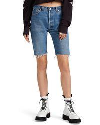 RE/DONE - Levi's® Denim Long Cutoff Shorts - Lyst