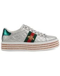 Gucci Ace Trainer With Crystals - Metallic