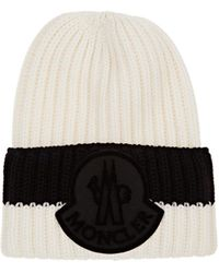 2bef8959cba Lyst - Moncler Wool Chunky Cable Knit Beanie in Blue for Men