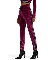 Marcelo Burlon - Logo-striped Velour Slim Track Trousers - Lyst
