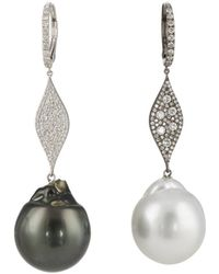 Samira 13 Diamond & Pearl Mismatched Drop Earrings - Multicolour