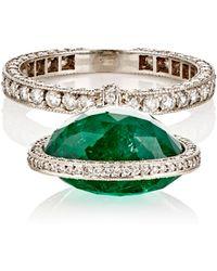 Munnu - Women's Emerald-drop-accented Band - Lyst
